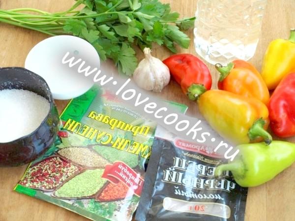 Інгредієнти для консервування перцю на зиму