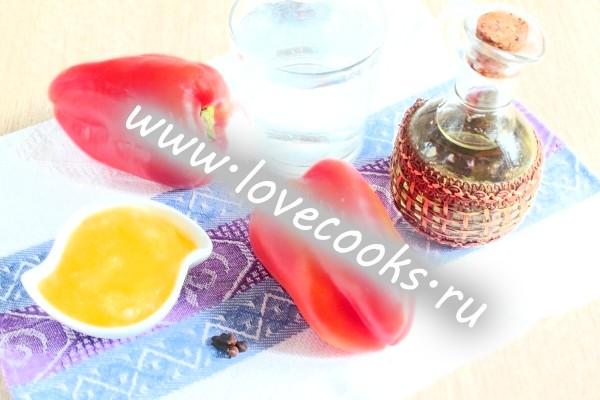 Інгредієнти для консервування солодкого перцю з медом