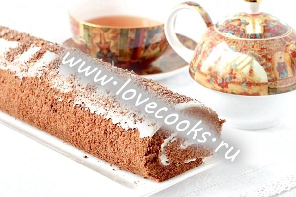 Рецепт шоколадного рулету з кремом