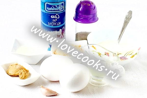 Інгредієнти для йогуртового соусу до салату Цезар